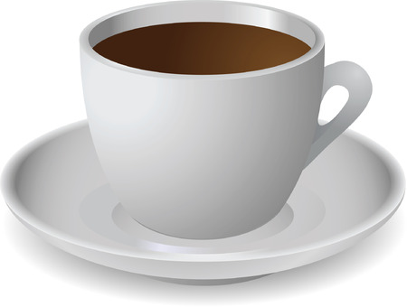 coffee cup vector: Cup of coffee on white background. Vector illustration without mesh