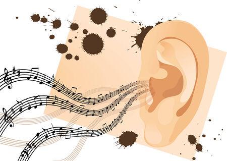 perceive: Grunge orecchio umano con note musicali. Vector illustration  Vettoriali