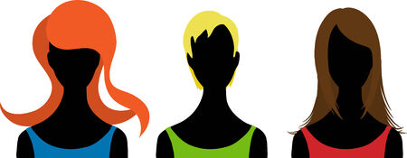 siluette: Three  silhouettes of woman. Vector illustration