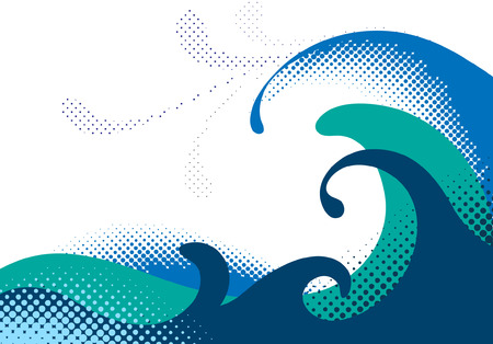 Halftone sea waves. Vector illustration Vector
