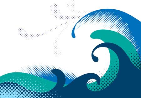 Halftoonraster zee golven. Vector illustration
