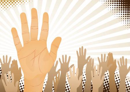 emelt: Unanimous vote (hands up). Vector illustration