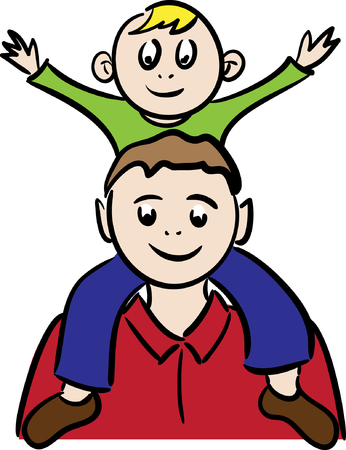 The father and the son sitting on shoulders.Vector illustration Vector