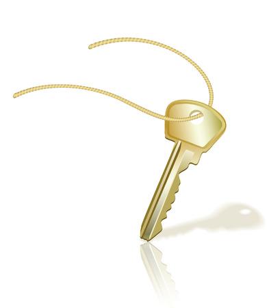 Gold key on white. Vector illustration Vector
