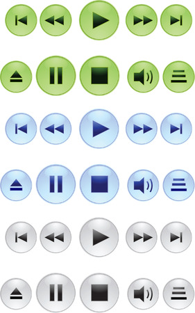 Collection of buttons for mediaplayers. Vector illustration Vector