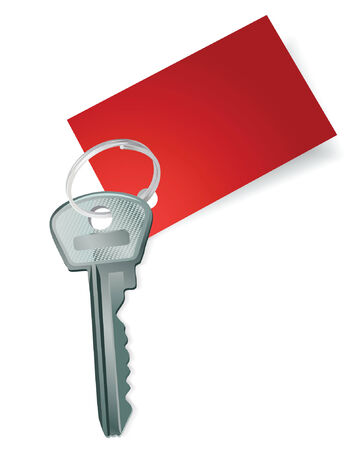 Key with a blank red label. Vector illustration Vector