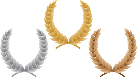 Three laurel wreath. Vector illustration Stock Vector - 3608259