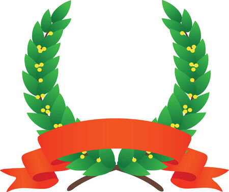achievement clip art: Laurel wreath and ribbon. Vector illustration