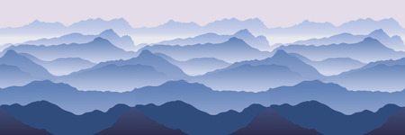 landscape painting: Mountains. Seamless vector illustration
