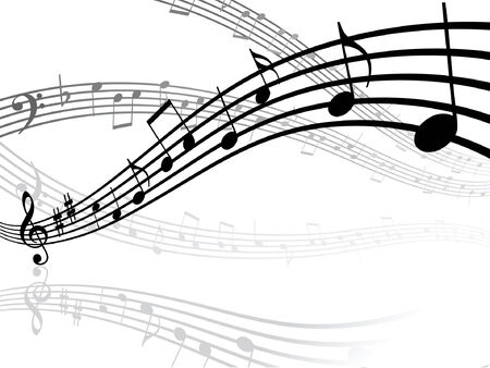 melodist: Abstract musical lines with notes. Vector illustration Illustration