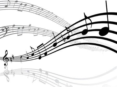 Abstracte muzikale lijnen met notities. Vectorillustratie