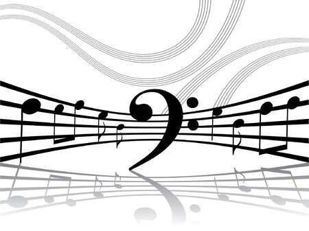melodist: Abstract linee con note musicali. Vector illustration