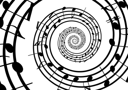 Abstract musical lines with notes. Vector illustration Illustration