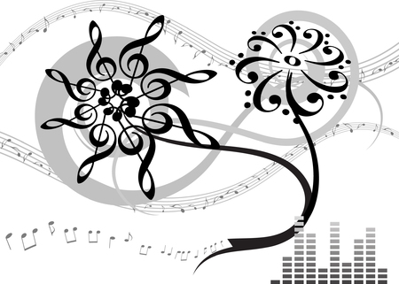 bass clef: Abstract musical . Vector illustration