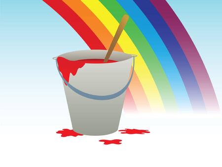 arco iris vector: Con cubos de pintura y arco iris. Ilustraci�n vectorial