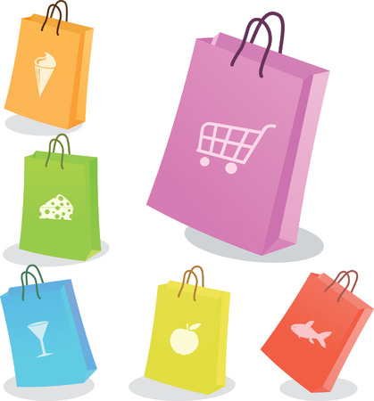 Six shopping bags. Vector illustration Vector