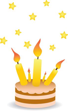 Taart met kaarsen. Vector illustratie