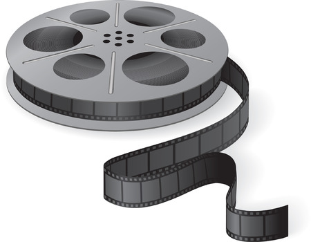 movies: A movie reel with a strip of frames. Vector illustration