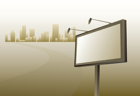 Advertising billboard and road to city Vector