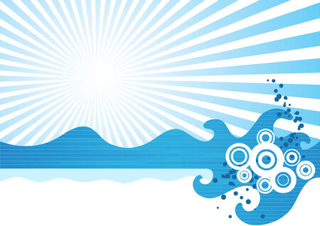 Abstract sea waves. Vector illustration Vector