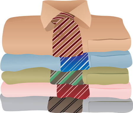 coat and tie: Pile of shirts Vector illustration