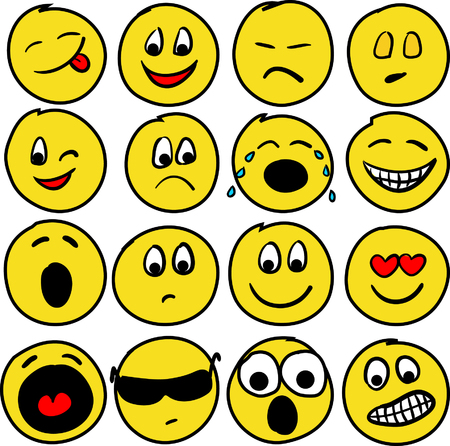 expressions: Collection of sixteen smiles. Vector illustration Illustration