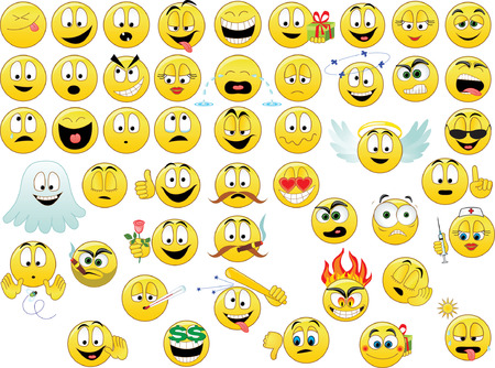 wenen: Verzameling van glimlacht. Vector illustration Stock Illustratie