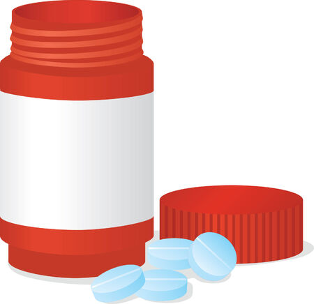 doses: Bottle and tablets. Vector illustration