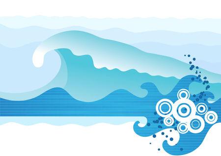 Abstract zee golven. Vectorillustratie