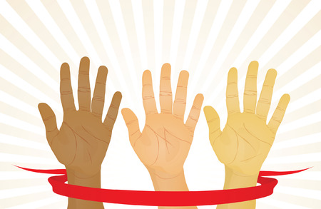 Unanimous vote (hands up). Vector illustration Vector