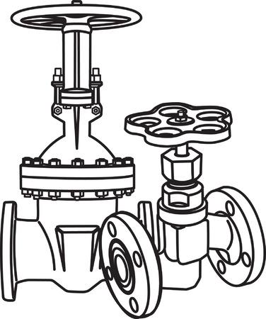 refinaria: Contour of valve. Vector illustration Ilustração