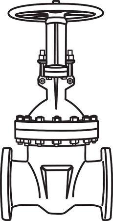 cilindro de gas: Contorno de la v�lvula. Ilustraci�n vectorial Vectores