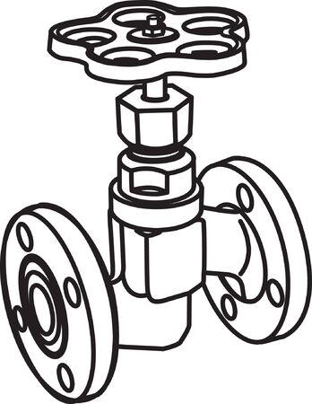 flange: Contour of valve. Vector illustration Illustration