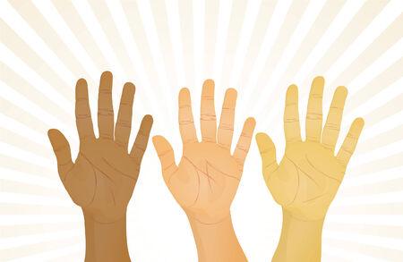 unanimous: Unanimous vote (hands up). Vector illustration