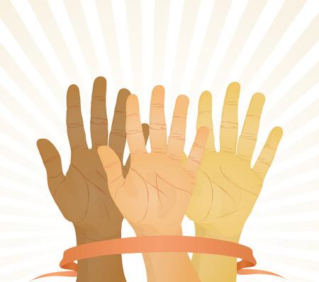 Eenparigheid van stemmen (handen omhoog). Vector illustration Stock Illustratie