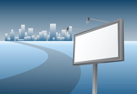 Advertising billboard and road to city. Vector illustration Vector