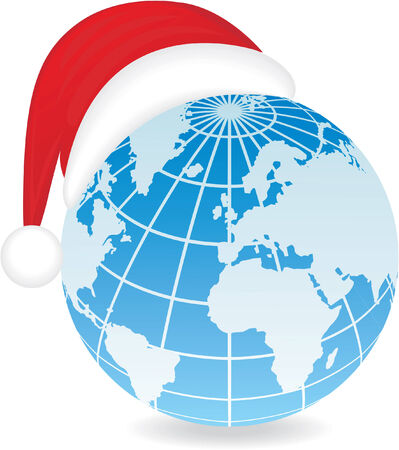 Globe with Santa's hat. Vector illustration Stock Vector - 3620261