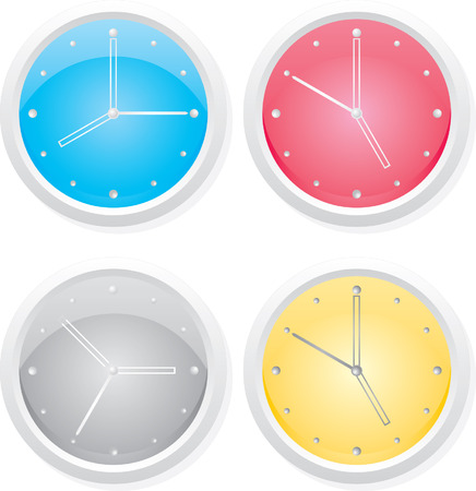 dialplate: Four clocks. Vector design elements.