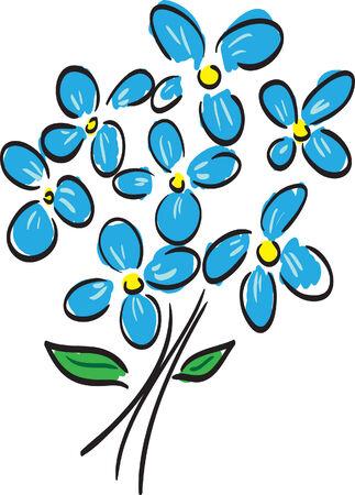 Blue flowers on white. Vector illustration Stock Vector - 3650110