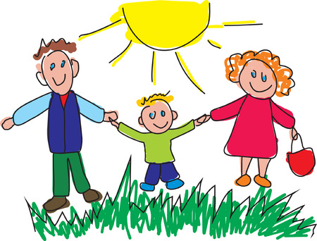 Kiddie style drawing of a happy family. Vector illustration Illustration