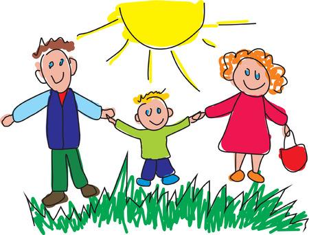 Kiddie estilo de dibujo de una familia feliz. Ilustración vectorial