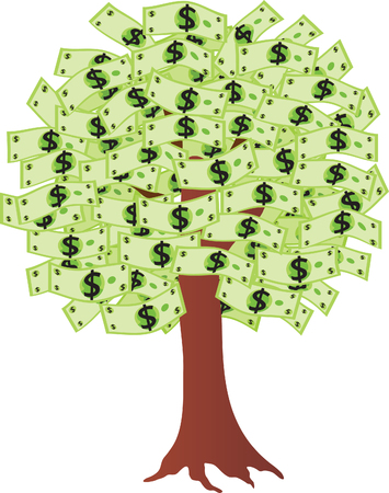 greenbacks: Money tree with dollars. Vector illustration Illustration