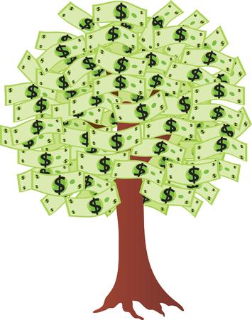 greenbacks: Money tree with dollars. Vector illustration Illustration