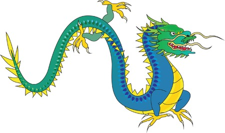 Blue dragon. Vector illustration Stock Vector - 3650320