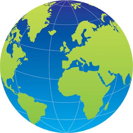 terrena: Globe su sfondo bianco. Vector illustration Vettoriali