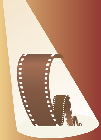 Film in beams of projector. Vector illustration Vector