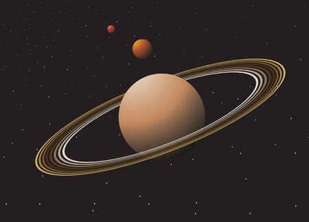 melkachtig: Ruimte met planeten. Vectorillustratie