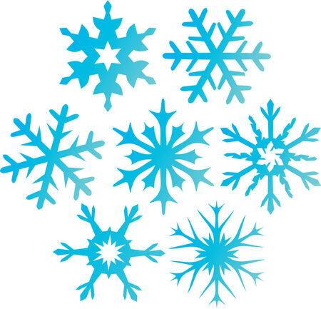 Seven blue snowflakes. Vector illustration Vector