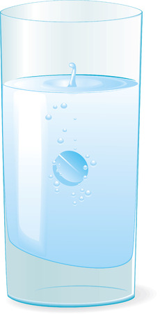 blue pills: Pill in glass with water. Vector illustration Illustration