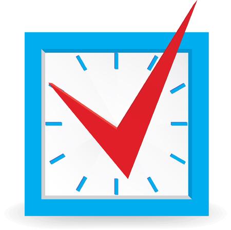 Red check mark on clock. Vector illustration Vector